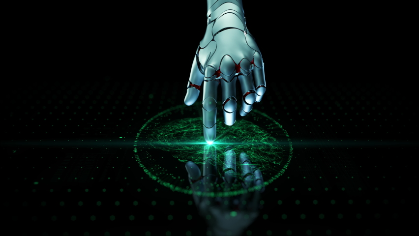 Close-up Artificial Intelligence Concept: Robot Arm Touch Screen Button and Activate Futuristic Web Quantum AI. 3D Visualization of Computer Technology and Digitalization Brain Abstract Animation HUD | Shutterstock HD Video #1061092018