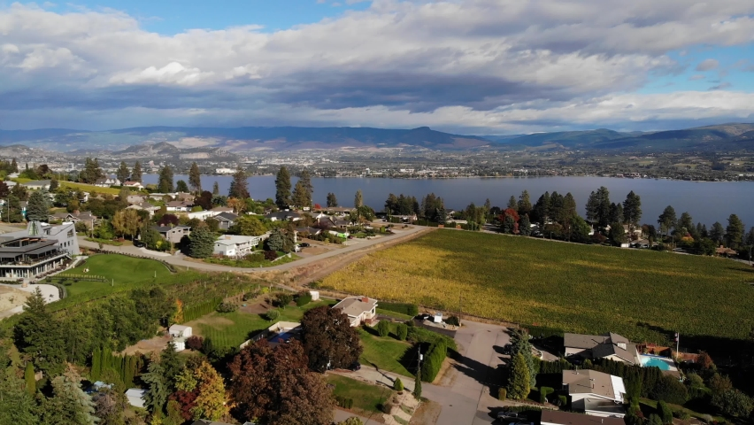 Left drone aerial sweep over west kelowna winery