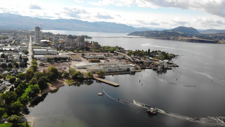 Drone aerial over downtown kelowna