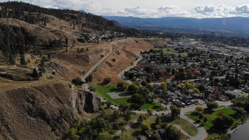 Drone aerial over kelowna canada residential park and knox mountain