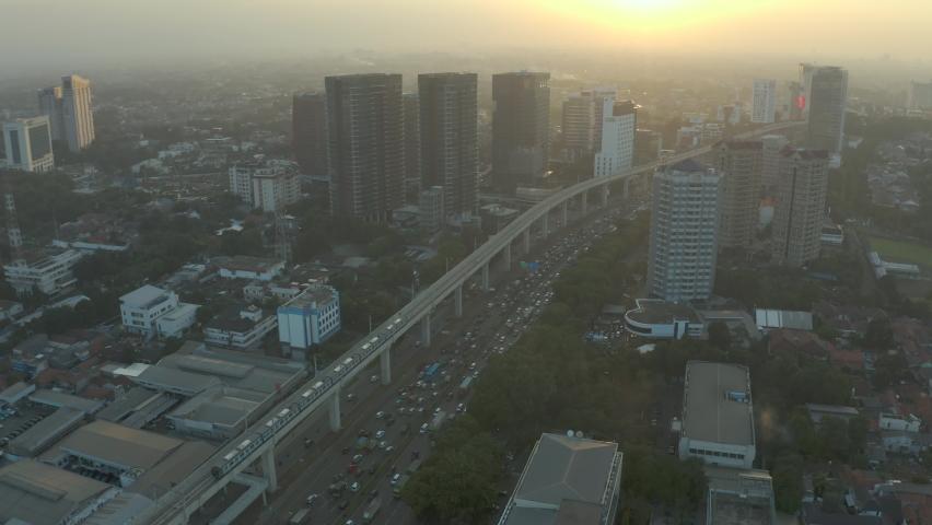 MRT Jakarta, Mass Rapid Transit, Traffic at dawn Royalty-Free Stock Footage #1061097178