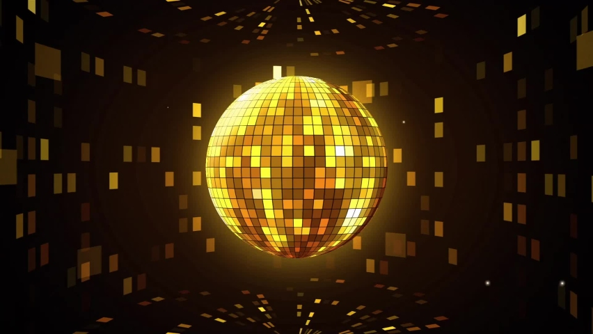 VJ Background Gold Disco Ball on Particles | Shutterstock HD Video #1061099788