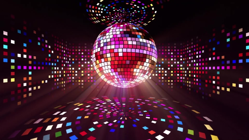 Neon Disco ball seamless VJ loop animation for music broadcast TV, night clubs, music videos, LED screens and projectors, glamour and fashion events, jazz, pops, funky and disco party. Royalty-Free Stock Footage #1061099824
