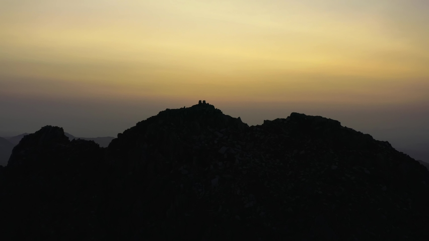 Tryfan sunrise aerial view with Adam and Eve summit stones