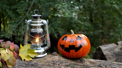 Orange pumpkin with evil smile for Halloween in the autumn forest on a log next to a kerosene lamp.Traditional symbol of Halloween