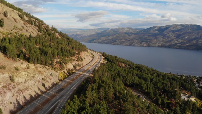 Drone aerial from high way leading to kelowna