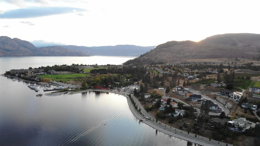 Drone aerial waterfront of kelowna local area