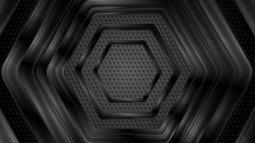 Black glossy hi-tech geometric hexagons. Metallic perforated texture. Abstract technology motion background. Seamless looping. Video animation Ultra HD 4K 3840x2160