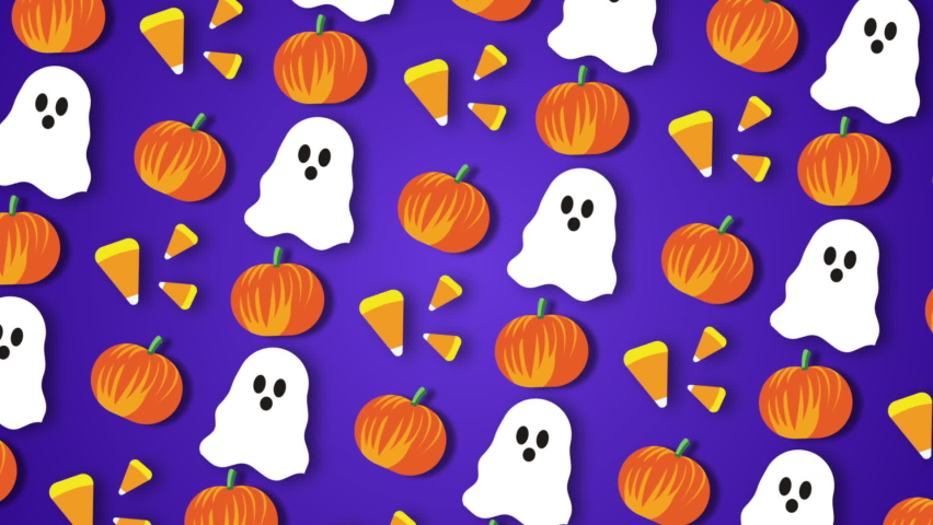 Ghost, pumpkin, candy moving on a purple background for Halloween  | Shutterstock HD Video #1061116873