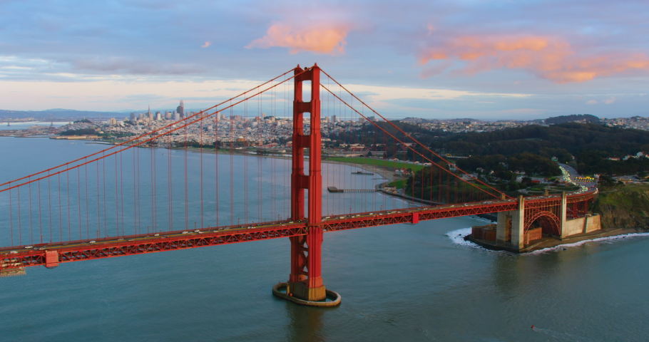Aerial view of the Golden Gate Bridge in San Francisco. USA. Daylight. Shot on Red weapon 8K.