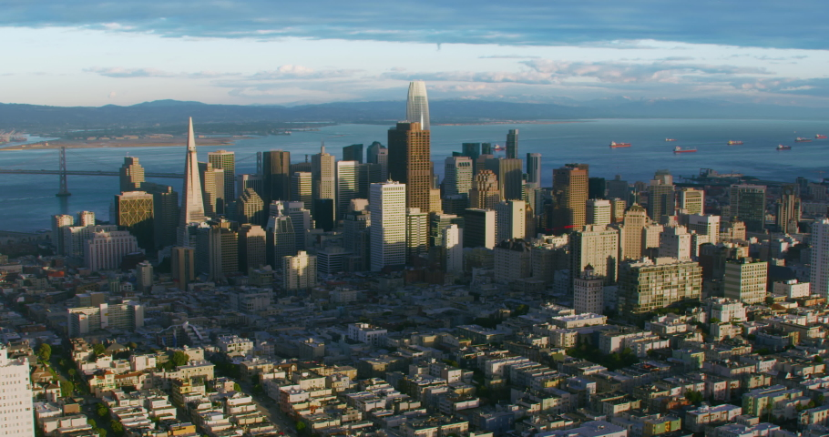 San Francisco skyline. Financial District. Aerial view. California, United States. Shot on Red weapon 8K.