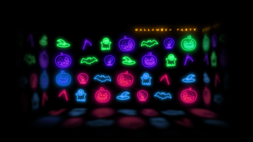 Happy Halloween banner or party invitation background with neon light Halloween neon sign collection. Halloween Party Design template.   Shutterstock HD Video #1061122213