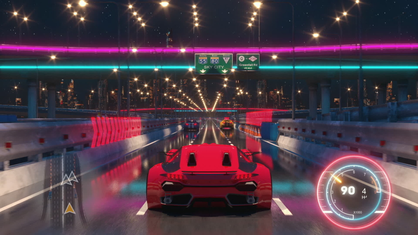 Speed Rasing 3d Video Game Imitation With Interface. Sports Cars Compete On The City Bridge Road At Night. Gameplay Screen. Royalty-Free Stock Footage #1061122561