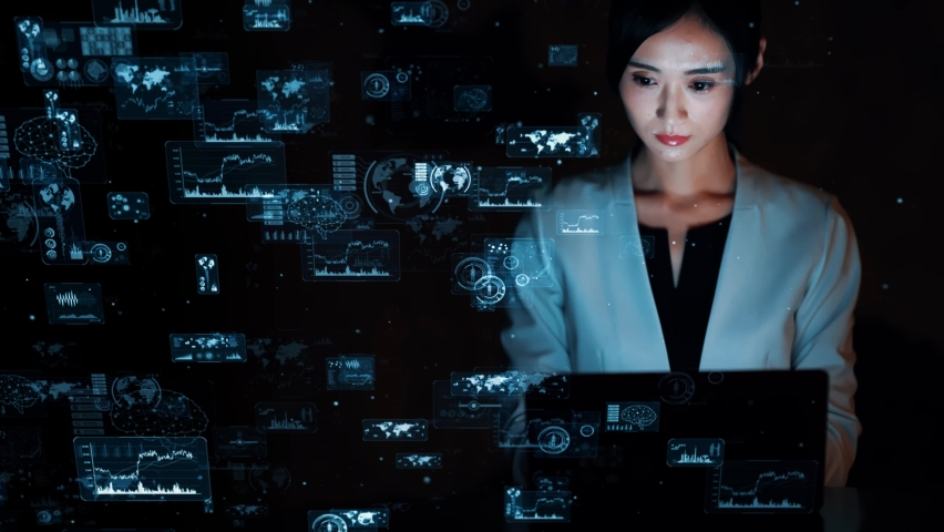 Young asian woman watching hologram screens. Digital transforamtion. GUI (Graphical User Interface). Royalty-Free Stock Footage #1061122678