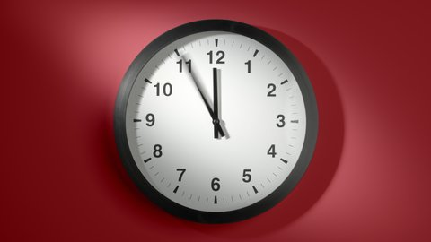 Clock Face On Burgundy Cherry Red Wall