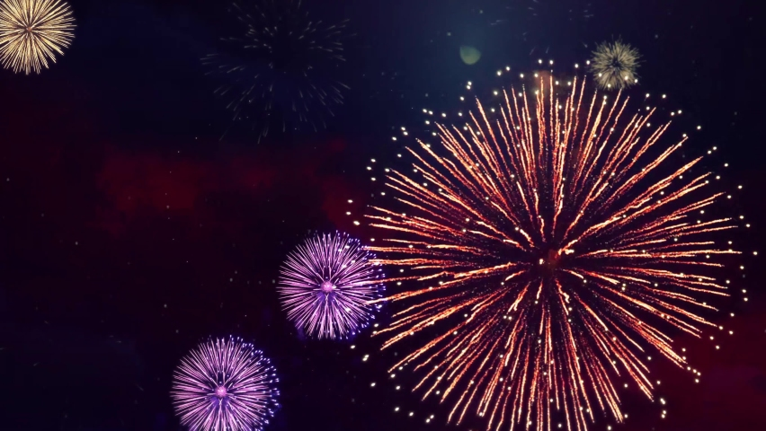 Real Fireworks 4k on Black Background loop Sky on Futuristic Fireworks Festival show. Independence day, 4 July, Happy Birthday, Wedding, New Year, Confetti, Diwali, Christmas, Event, Invitation Royalty-Free Stock Footage #1061124013