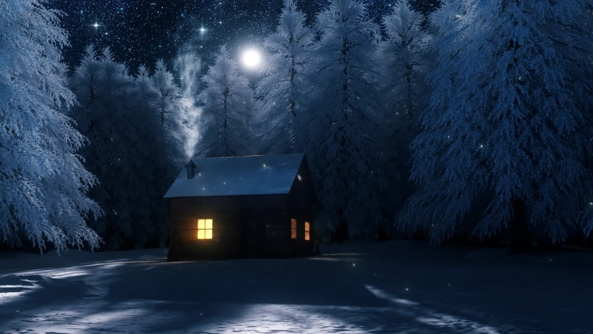 3D Wood House in a Snowy Forest Loop Landscape Background Royalty-Free Stock Footage #1061140897