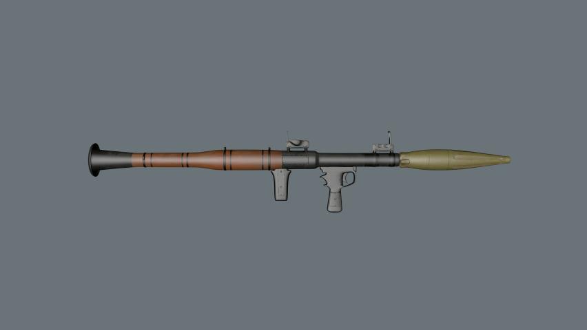 4K Rotating RPG 7 weapon animation.Rotating Bazooka weapon