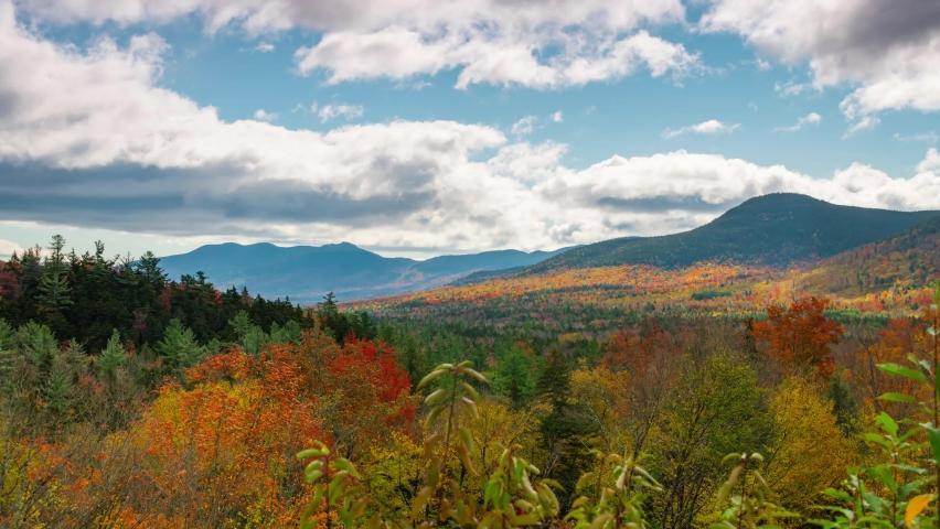 White Mountain Autumn foliage time lapse view in New Hampshire