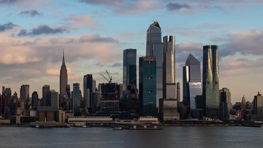 New York City skyline cityscape with architecture time lapse | Shutterstock HD Video #1061145874