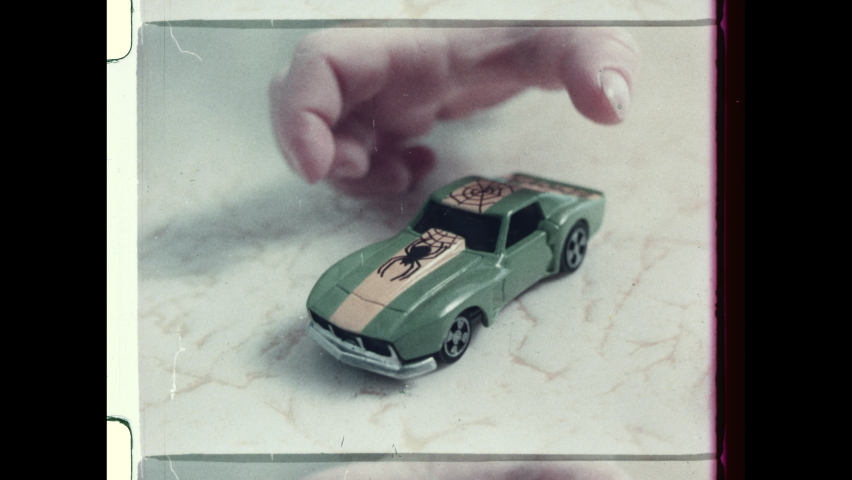 1970's Three Young Boys play with Matchbox Cars. Television Commercial Advertisement. 4K Overscan of Vintage Archival 16mm Film Showing Frame Lines