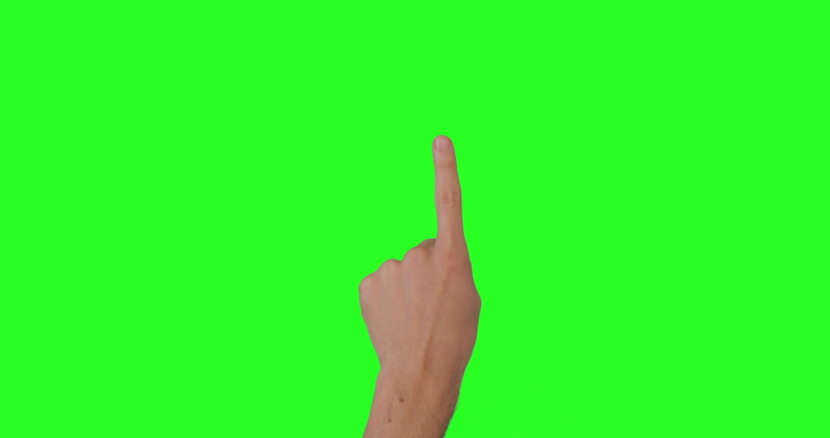 14 Gestures Pack at keyed green screen chroma key background. Man hand doing different gestures for touch screen: click, zoom, swipe, slide, scroll. Ready for compositing. 4K, Apple ProRes 422   Shutterstock HD Video #1061153698