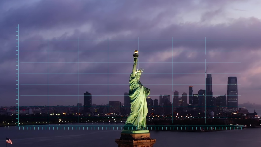Financial charts and data. Stock exchange figures on a dusk, NYC city skyline and the statue of Liberty - 3d motion graphics animation - Bull market, New York, USA | Shutterstock HD Video #1061157535