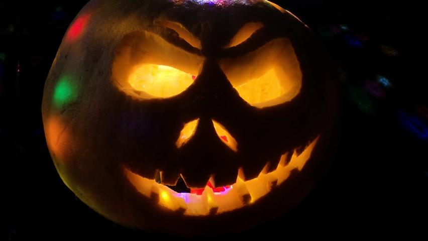 Funny pumpkin on Halloween holiday   Shutterstock HD Video #1061160454