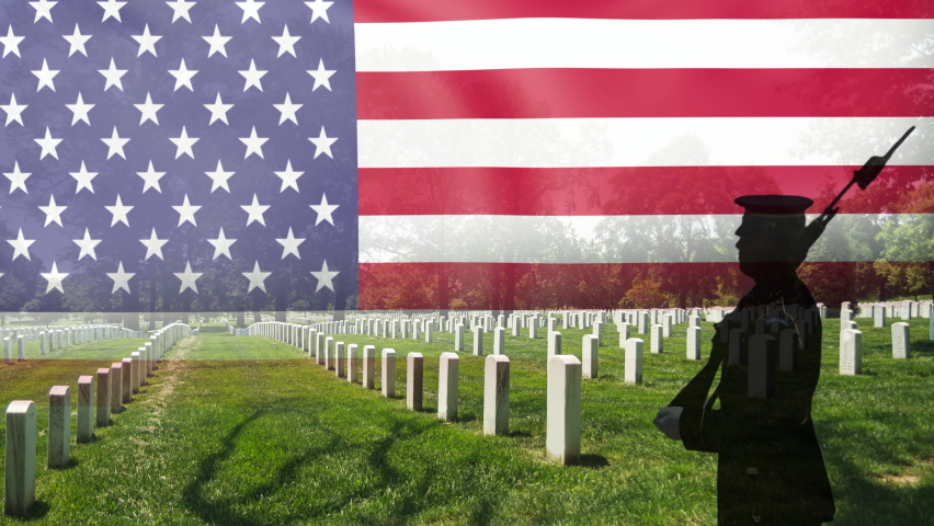 Great for 4th of July or Memorial Day. Grave stones in a row with a soldier silhouette and an US National flag.