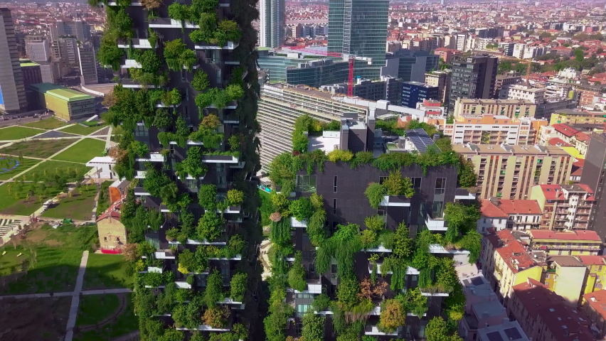 Milan, Italy - October 20, 2020: Aerial view. Modern and ecologic skyscrapers with many trees on every balcony. Bosco Verticale | Shutterstock HD Video #1061161006