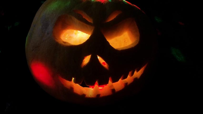 Funny pumpkin on Halloween holiday   Shutterstock HD Video #1061161021