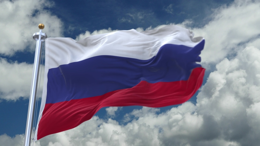 Looping flag of Russia with flagpole waving in wind,timelapse rolling clouds background.A fully digital rendering.    Shutterstock HD Video #1061162878