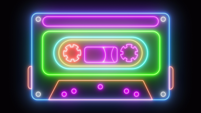 Neon cassette on black background, lights up and goes out. Cassette animation. Loop. Royalty-Free Stock Footage #1061164390