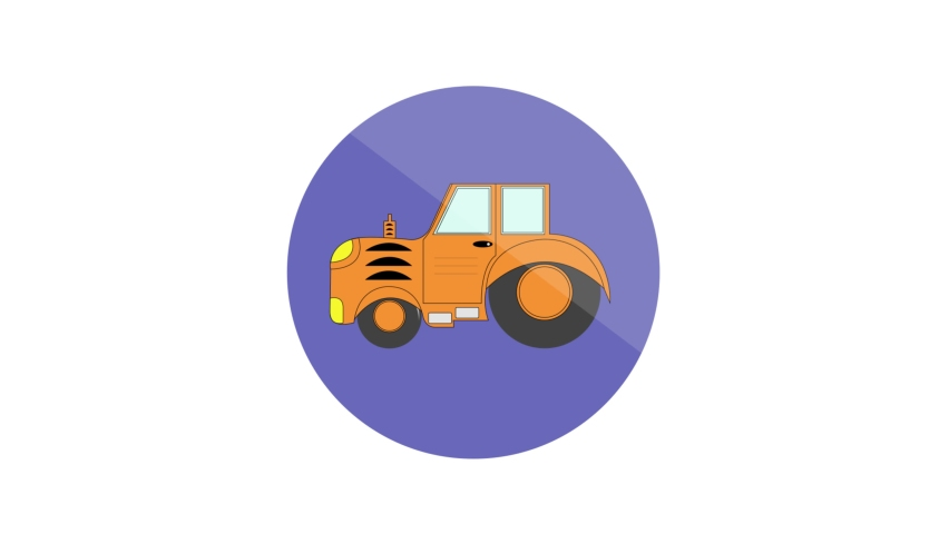 Tractor Flat Animated Icon. 4k Animated Transport Icon    Shutterstock HD Video #1061164393