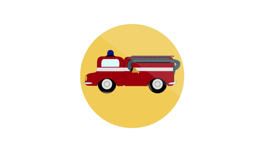 Fire Car Flat Animated Icon. 4k Animated Transport Icon    Shutterstock HD Video #1061164402