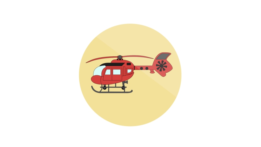 Helicopter Flat Animated Icon. 4k Animated Transport Icon    Shutterstock HD Video #1061164405
