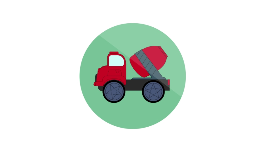Concrete Mixer Flat Animated Icon. 4k Animated Transport Icon   Shutterstock HD Video #1061164408