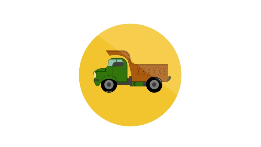 Tipper Flat Animated Icon. 4k Animated Transport Icon    Shutterstock HD Video #1061164414