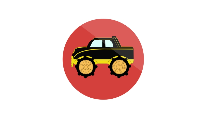 Monster Machine Flat Animated Icon. 4k Animated Transport Icon    Shutterstock HD Video #1061164420