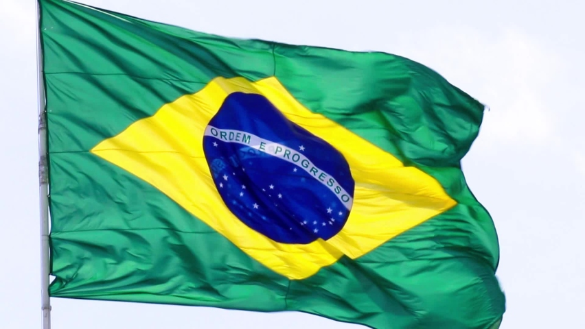 Close up of Brazil flag blowing in the wind | Shutterstock HD Video #1061170576