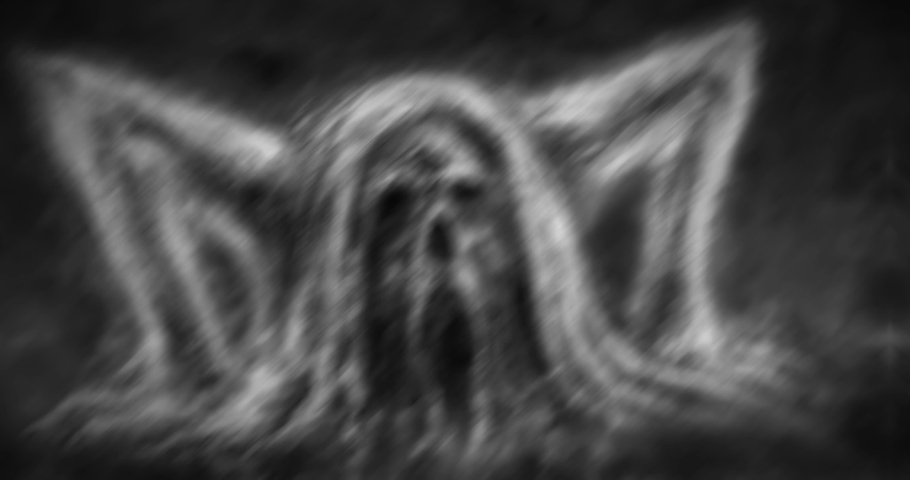Zombie rises from the ground. Demon in collar with chains. Black and white collection of movies in horror fantasy genre. Animated 4K video clip nightmares for Halloween. Vj looped motion graphics.