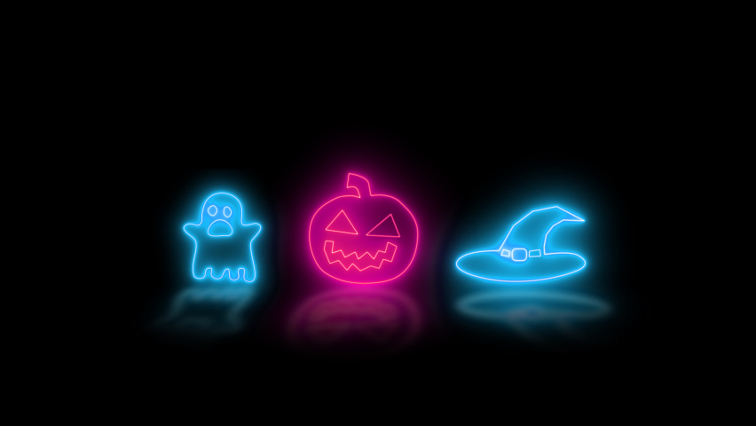 Happy Halloween banner or party invitation background with neon light Halloween neon sign collection. Halloween Party Design template.   Shutterstock HD Video #1061173591