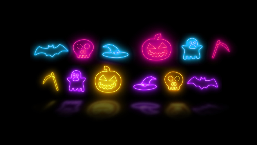 Happy Halloween banner or party invitation background with neon light Halloween neon sign collection. Halloween Party Design template. | Shutterstock HD Video #1061180719