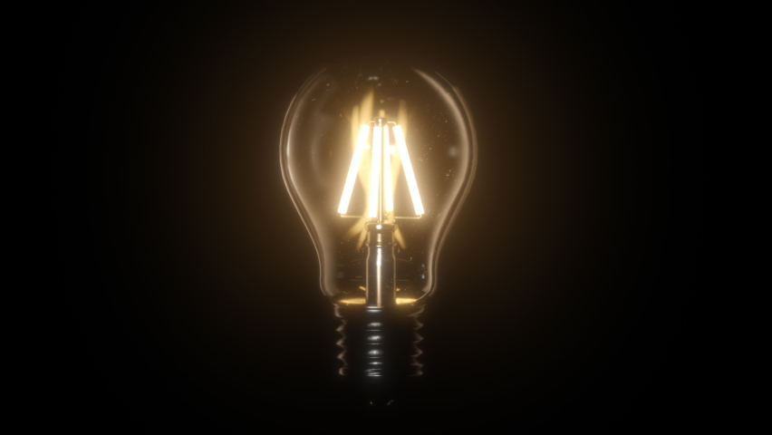 Switching on, turning off light bulb animation. Warm yellow light over dark black background. Bright glowing and flickering Edison Tungsten lamp. Retro vintage form. Creative idea concept. 3D 4K clip  | Shutterstock HD Video #1061184097