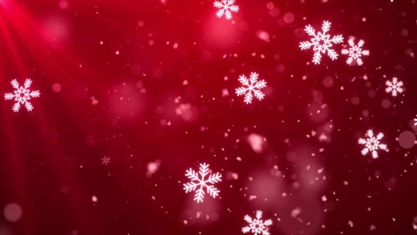 Abstract Beautiful Light Red loopable winter snow snowflake background with falling snowflakes and floating blurry glitter particles lights. 4K seamless loop video. | Shutterstock HD Video #1061186605