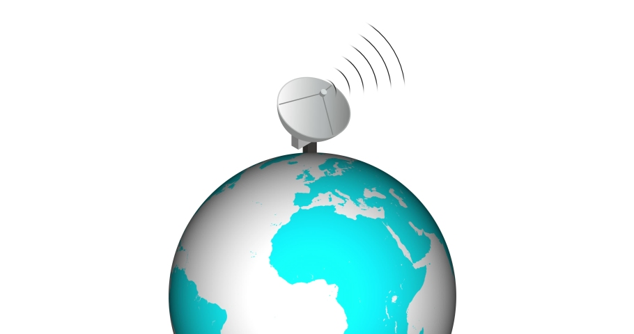 Sending data from earth to satellite. Digital data connection concept. data sending concept. Communication concept all over the world by radio wave, microwave. | Shutterstock HD Video #1061193592