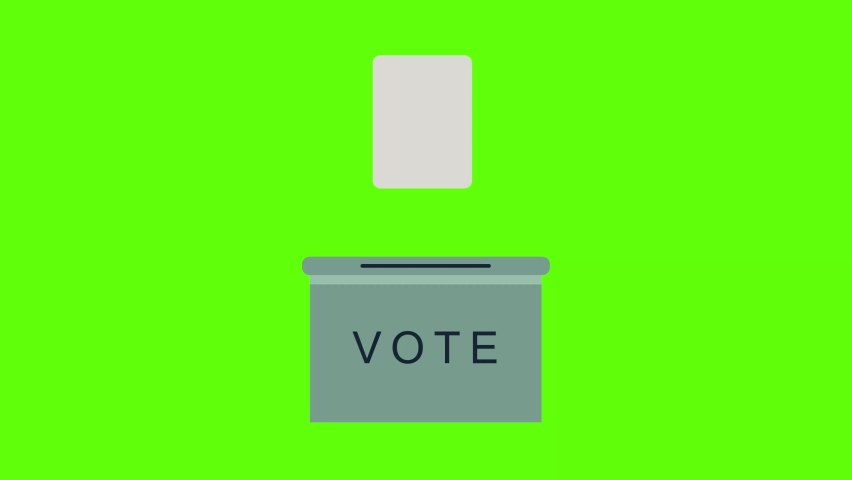 Vote slipped into voting box on greenscreen background animation