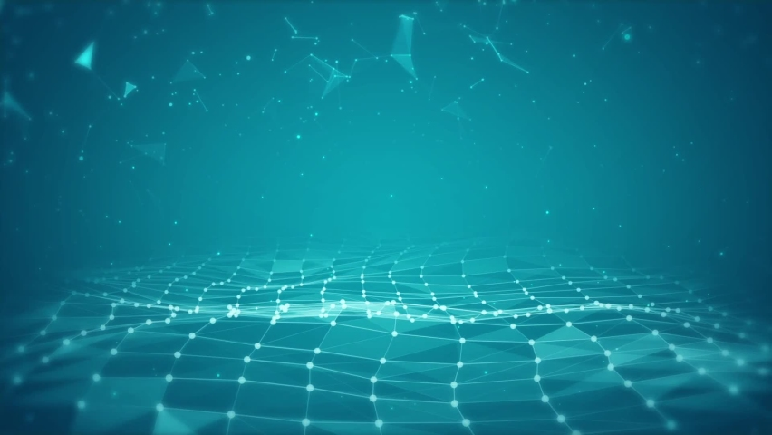 3D render of abstract Plexus blue oving dots and lines geometrical shapes animation. Connection web concept. Digital, Communication Technology Network Background With Moving Triangles, Lines And Dots. Royalty-Free Stock Footage #1061204701