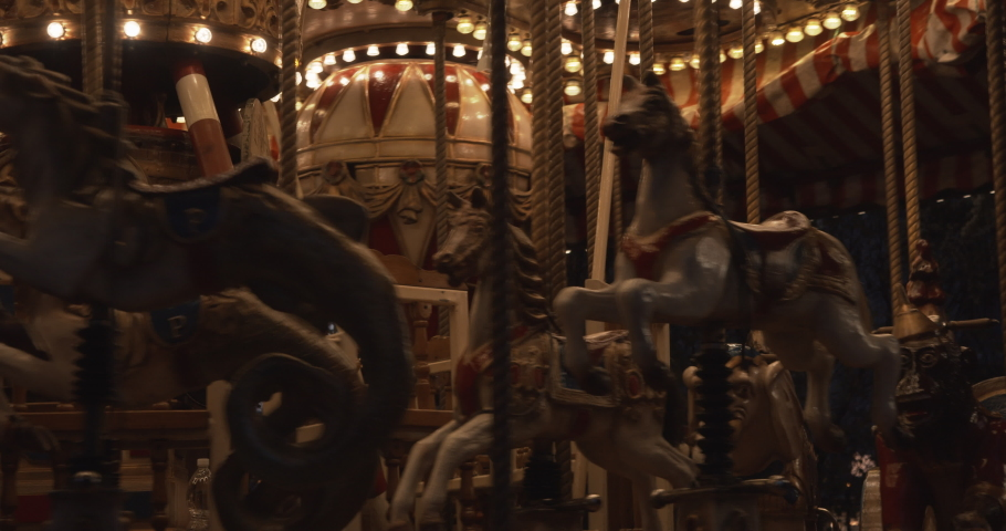 Carousel blurred and colorful on the Christmas Market of Vienna, Austria Royalty-Free Stock Footage #1061218987