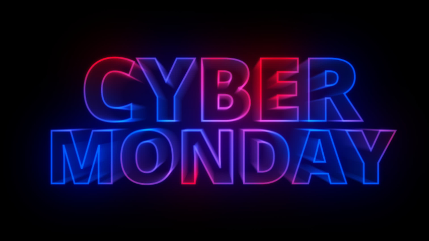 Cyber Monday sale text 80s retro style title intro motion graphic animation,Cyber Monday sale concept.